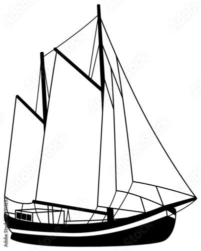 Segelboot zeichnung schwarz  Segelboot Segelschiff Silhouette Schiff Boot
