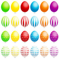 24 Easter Eggs Stripes/Check/Flowers