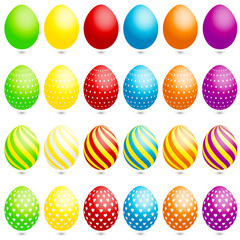 24 Easter Eggs Dots/Stripes/Hearts