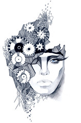 Woman's face decorated with gears