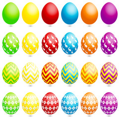 24 Easter Eggs Bunny/Zigzag/Flowers