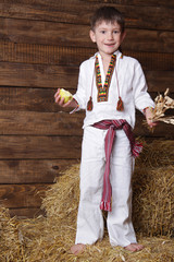 happy young boy in traditional eastern european clothes on haylo