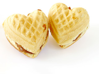 two heart-shaped biscuits