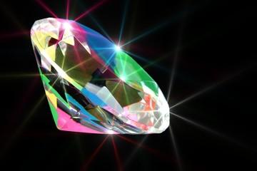 Colorful shining diamond on black background
