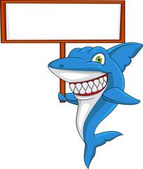 Shark cartoon with blank sign
