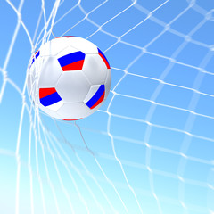 3d rendering of a Czech Republic flag on soccer ball in a net