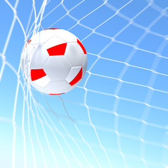 3d rendering of a Poland flag on soccer ball in a net