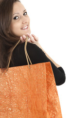 young woman with shopping bag, white background
