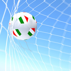 3d rendering of a Italy flag on soccer ball in a net