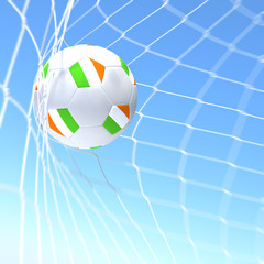 3d rendering of a Ireland flag on soccer ball in a net
