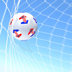 3d rendering of a Croatia flag on soccer ball in a net
