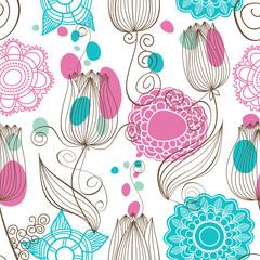 Fototapete - Cute floral seamless pattern