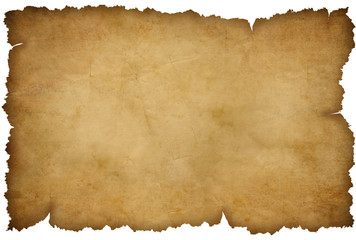 Grunge torn paper or map isolated on white