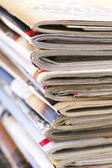 Stack of magazines close up