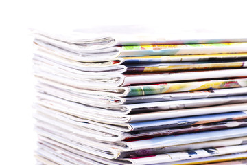 Stack of magazines isolated