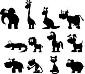 Мультфильм силуэты животных