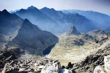 High mountain range landscape, valley
