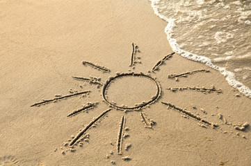 Symbol der Sonne am Strand