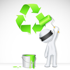 3d Man in Vector painting Recycle