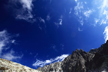 Blue sky over high mountain range, landscape
