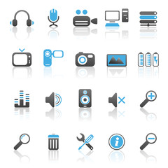 Media icons blue