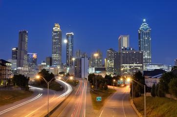 Atlanta Skyline above Freedom Parkway