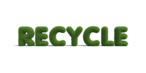 recycle symbol grass on isolated background