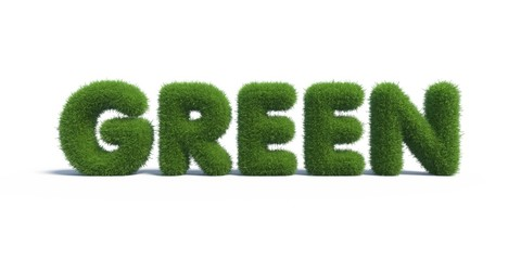 green grass in the form of letters