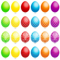 24 Easter Eggs Stripes/Floral/Dots