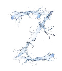 "Water alphabet letter ""Z"" isolated on white background"