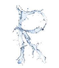 """Water alphabet letter """"R"""" isolated on white background"""