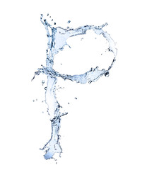 "Water alphabet letter ""P"" isolated on white background"