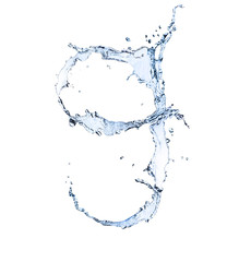 "Water number ""9"" isolated on white background"