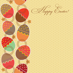 greeting card with different easter eggs