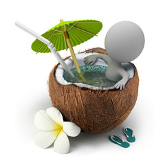 3d small people - takes a bath coconut