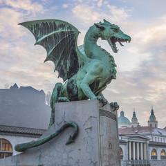 Papiers peints Dragons Zmajski most (Dragon bridge), Ljubljana, Slovenia, Europe