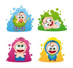 4 vector babies set 1: happy children