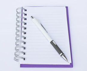 Blank notebook and pencil as white isolate background