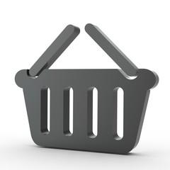 3d Icon Warenkorb schwarz