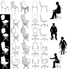 Office business chairs furniture drawings set