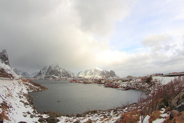 the fjord of Reine in wintertime