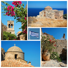 Collage of Greek landmarks