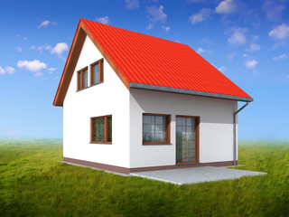 Render of house in perspective. Green grass and blue sky