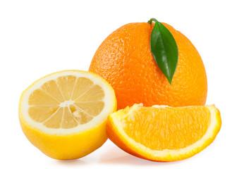 Orange with leaf and lemon