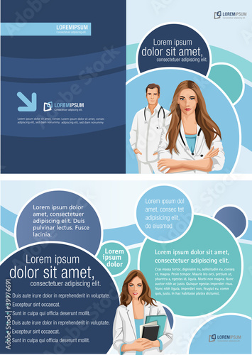 medical template for advertising brochure with doctors stock image