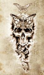 Sketch of tattoo art, skull, death concept illustration