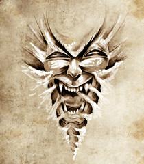 Fototapete - Sketch of tattoo art, monster agressive mask