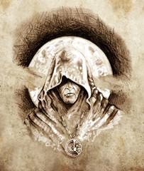 Fototapete - Sketch of tattoo art, magician, halloween concept