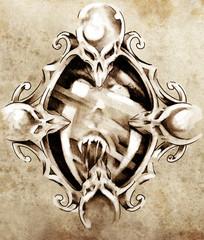 Sketch of tattoo art, magic mirror