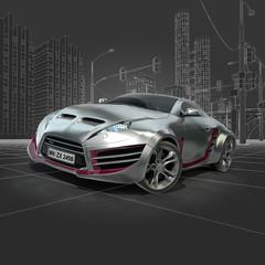 Silver sports car. Original car design.